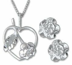 Sterling Silver Rose Earring and Necklace Set Gold and Diamond Source. $36.00. Save 50% Off!