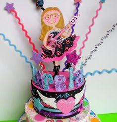 Rock Star Birthday cake topper fro children or birthday party centerpiece