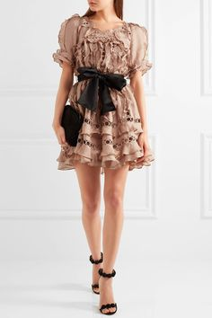 Zimmermann - Winsome Guipure Lace-paneled Ruffled Silk And Linen-blend Mini Dress - Antique rose - 3