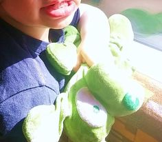 Lost at On a train from Hampton court to London Waterloo on 29 May. 2016 by Maria: My son lost his beloved green puppy soft toy teddy (with floppy ears) on
