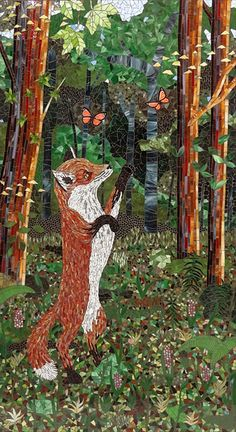 """Fox  Stained glass mosaic, 66""""h x 36""""w"""