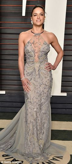 Night out: She strutted her stuff in a glamorous gown at the Vanity Fair post-Oscars party on Sunday Hollywood Fashion, Hollywood Stars, Fast And Furious Letty, Michelle Rodrigez, Dom And Letty, Eliza Dushku, Heather Graham, Jacqueline Fernandez, Celebs