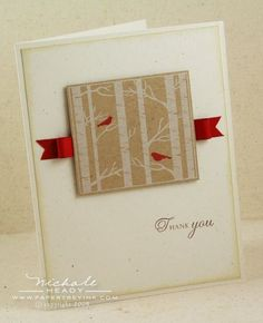 """By Nichole Heady. Stamp from """"Through the Trees"""" set by Papertrey Ink. Stamp in white ink on kraft cardstock. Add red birds and ribbon. Panel card base are white. Panel sponged on edges with Chamomile Tea ink. Scrapbook Paper Crafts, Scrapbook Cards, Scrapbooking, Holiday Cards, Christmas Cards, Beautiful Handmade Cards, Bird Cards, Winter Cards, Card Tags"""