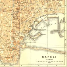 1926 Naples City Map Street Plan Italy  by CarambasVintage on Etsy, $20.00