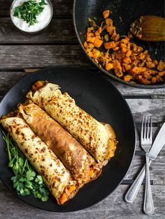 Indian Spiced Pancakes with Carrot Filling