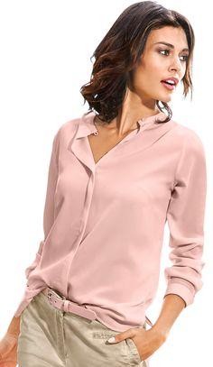 creation l blouse met lusjessluiting en sierknoop roze
