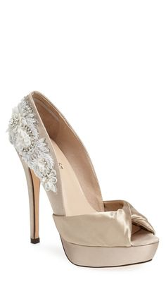 Gorgeous lace and satin pump. The perfect wedding shoe!