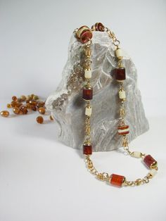 Vintage jewelry beaded necklace brown orange by MoniceBoutique, €13.00