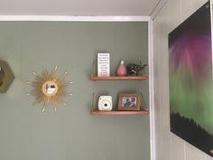 Sun Mirror, Living Room Lighting, Scandinavian Style, Elephants, Floating Shelves, Teak, Northern Lights, Green, Furniture