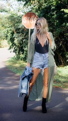 Short jeans, black tank and a long olive cardigan - LadyStyle