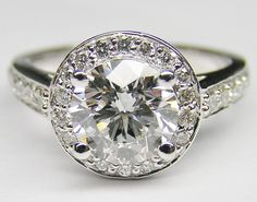 Round Diamond Halo Pave Cathedral Engagement ring Open Gallery in 14K White Gold