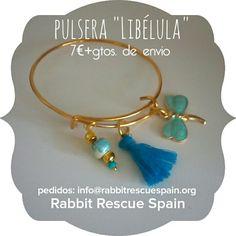 "#nuevo pulsera ""Libélula"" 7€+gtos.de envio. Pedidos: info@rabbitrescuespain.org"