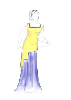 Costume Design for the Character of Eurydice, during the opening scene on the beach.