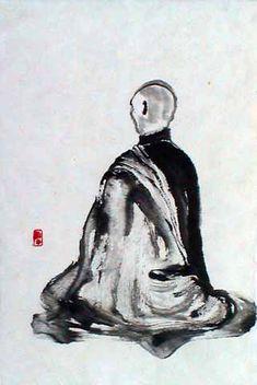 Zen is a matter of character, not a matter of intellect. Zen Painting, Buddha Painting, Zazen Meditation, Japanese Buddhism, Samurai Artwork, Photo D Art, Tinta China, Zen Art, Buddhist Art