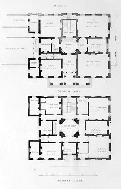 Floor plans for an urban residence, England