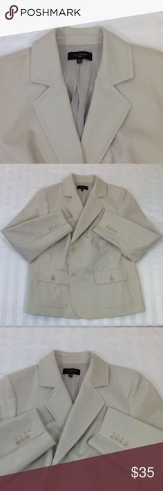 "Talbots women's notched lapel field jacket Very good pre-owned condition. Stone color 54% cotton, 40% polyester and 6% elastane. Fully lined in polyester. Two button close, four button cuff, fitted back with half belt. Patch pockets with flaps and buttons. Length is 25.5."" Talbots Jackets & Coats Blazers"