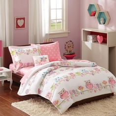 Girls Pink White Owls & Flowers Comforter Set with Shams AND Matching Sheet Set #Contemporary