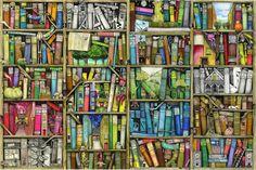 Fantasy Bookshelf - Fotobehang