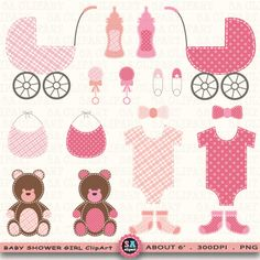 Baby Shower Girl Clipart BABY SHOWER GIRLclip artbaby by SAClipArt, $5.00