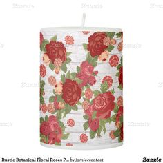 Rustic Botanical Floral Roses Pillar Candle