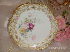 Gorgeous Plate with Hand Painted Roses from onlyfinelines on Ruby Lane
