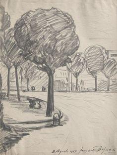 E. Besozzi pitt. 1955 Paesaggio pennarello su carta cm. 33x24,5 arc. 62 Esposizione: Sesto Calende, galleria Pro-loco, settembre 1982