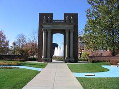 "Hallene Gateway University of Illinois at Urbana Champaign. The inscription reads, ""Learning & Labor,"" the University motto."