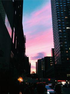 Pinterest | cosmicislander ❁ Clear Blue Sky, Pink Sky, City Aesthetic, Aesthetic Photo, Pink Photography, Street Photography, Aesthetic Lockscreens, Pretty Sky, Night City