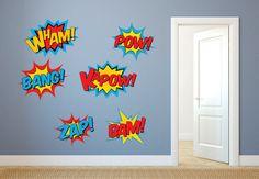 Superhero Wall Decal  Superhero decal set  by BlueDesignCo on Etsy