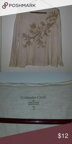 Like New CWC Cotton Top Cream with light brown print on front.  100% cotton.  Great shape. Coldwater Creek Tops Tees - Short Sleeve