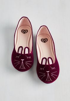 Furry Up, We're Dreaming Flat in Garnet Velvet. Slip into these bunny flats from T.U.K. #red #modcloth