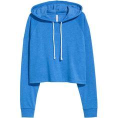 Short Hooded Sweatshirt $17.99 ($18) ❤ liked on Polyvore featuring tops, hoodies, crop, blue crop top, long hoodies, cropped hoodie, sweatshirt hoodies and cropped hoodies