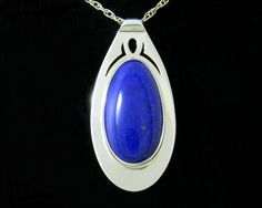 """High-Grade Natural Lapis Lazuli and Sterling Silver Pierced-Work Pendant; Length 2"""" (51 mm)"""