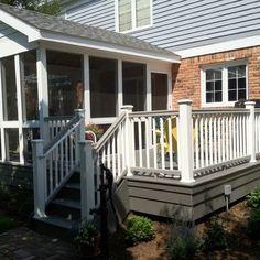 Composite Deck. two tones deck rails. dark cap, white rails. matching skirting