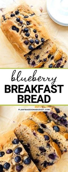 This delicious Blueberry Breakfast Bread is a great addition to your next family brunch on the weekends! This bread feels like a mix between blueberry bread and blueberry cake. It has just the right sweetness (without using any refined sugar), and is unbelievably moist. This amazing vegan bread recipe is so simple and easy to make! Blueberry Bread, Blueberry Breakfast, Savory Breakfast, Healthy Eating Recipes, Healthy Breakfast Recipes, Brunch Recipes, Loaf Recipes, Brunch Ideas, Muffin Recipes
