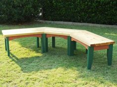 DIY Project Plan: Build a Semi-Circular Outdoor Bench via @Chris Cote Hill. For by the shed around the fire pit.