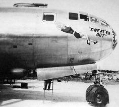Boeing B-29, SWEAT ER OUT nose art, Tinian 1945