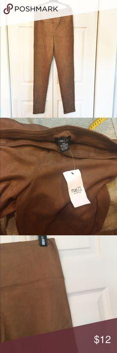 "Faux Suede Leggings sz S/M Light brown leggings in a faux suede.  Never worn.  13"" across x 32.5"" inseam.  High waist, 11"" rise.  90% poly, 10% spandex. Rue 21 Pants Leggings"