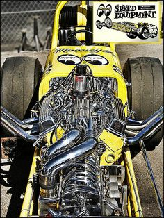 Mooneyes front engine dragster with crank driven supercharger Mellow Yellow, Bright Yellow, Jets, Nhra Drag Racing, Top Fuel, Old Race Cars, Vintage Race Car, Love Car, Drag Cars