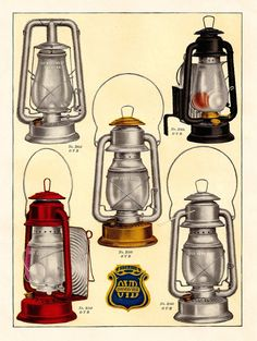 This is a bright and colorful color plate of vintage camping lanterns from a 1913 hardware catalog. Description from antiqueimages.blogspot.de. I searched for this on bing.com/images