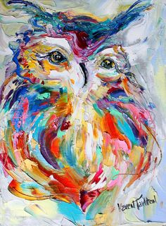 Original oil painting Owl Portrait by Karen's Fine Art – Gallery Represented Modern Impressionism in oils impasto canvas painting on gallery