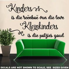 AFRIKAANS KINDERS IS DIE REENBOE V/D LEWE WALL ART STICKER XXLRG VINYL DECAL