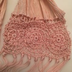 Host pick 3/6/16! Delicate  pink scarf Skinny pink scarf with crocheted details. Slight snags in areas . See photos. Accessories Scarves & Wraps