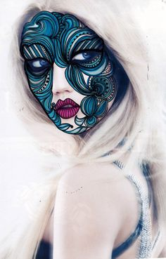 Face paintings on ads by Minna Salo, via Behance