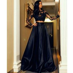 Black Lace Two Piece Prom Dresses With Long Sleeve With Lace Appliques Satin Sexy Formal Evening Party Dress