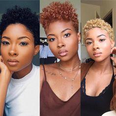 Pick a colour 😍 #twastyles #twahairstyles #coloredhair Natural Hair Short Cuts, Short Natural Haircuts, Natural Hair Styles For Black Women, Best Short Haircuts, Short Hair Cuts, Natural Big Chop, Short Natural Styles, Natural Hair Twa, Colored Natural Hair