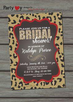 Leopard Bridal Shower Invitation Chalkboard by PartyInvitesAndMore, $10.00