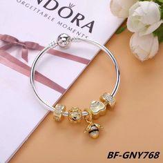 Pandora queen bee gold charm bracelet