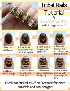 Nailed It NZ: Nail art for short nails - Tribal nails. I don't have enough patience to do this for all of my nails but it could be a cute accent nail . I don't think I even have enough patience for that lol Love Nails, How To Do Nails, Pretty Nails, Gorgeous Nails, Nail Art Designs, Nails Design, Nails Decoradas, Nail Design Spring, Tribal Nails