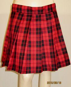 Menzies Red Plaid Pleated Skirt~Red Black Plaid Tartan Small to Plus Size…